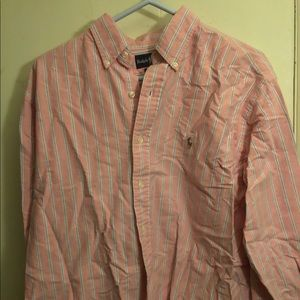 Pink/blue polo button down